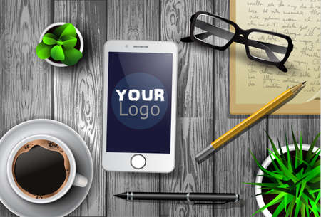 Modern work space vector set with stationery
