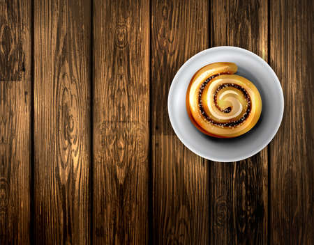 Vector illustration of baking roll with cinnamon