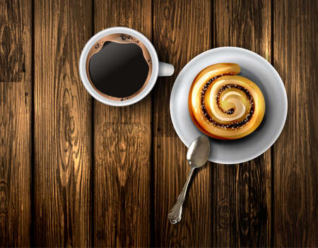 Coffee cup on a wooden table, With cinnamon roll vector illustration template design