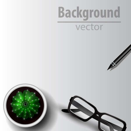 Cactus top view with glasses on white table isolated vector