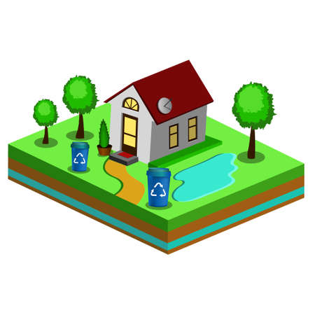 Beautiful small isometric house on green ground isolated on white. Property, real estate, construction and rent concept. vector illustration