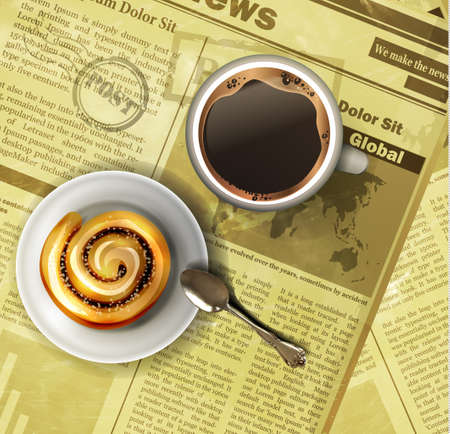 Coffee cup on a newspaper image illustration