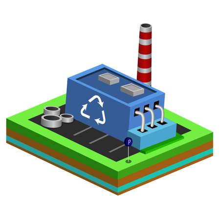 Vector isometric icon of recycle machine