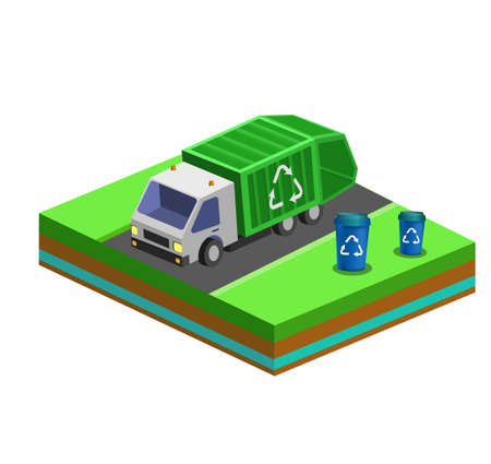 Garbage Removal with Isometric bins and City Truck. Vector illustration