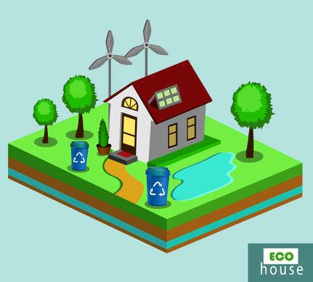 Isometric Eco House Illustration