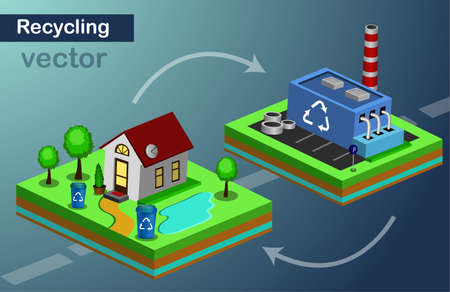 Vector isometric icon of house and recycling center on color background.