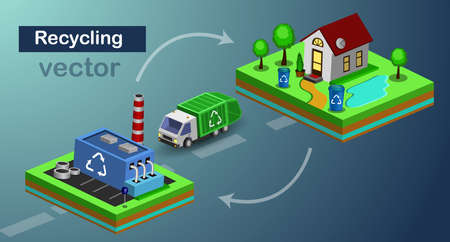 Recycling concept vector isometric icon
