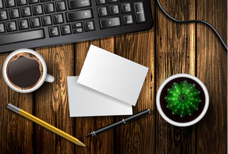 Modern workspace vector set with stationery