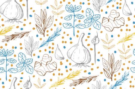 Herbes et plantes médicinales seamless pattern vecteur dessiné à la main objets Banque d'images - 98372141