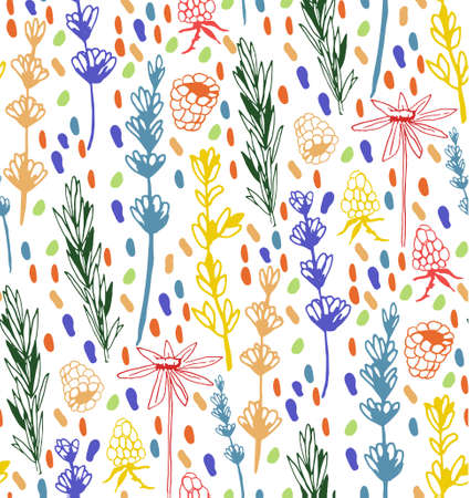 Herbs and medicinal plants seamless pattern.