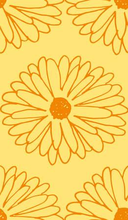 calendula seamless pattern Vector illustration.