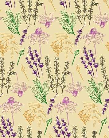 Herbs and medicinal plants collection seamless pattern. Vector illustration.