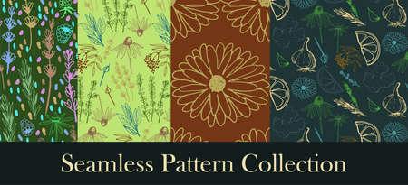 Herbs and medicinal plants seamless patterns