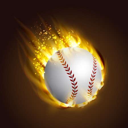 Dirty baseball speeding through the air on fire