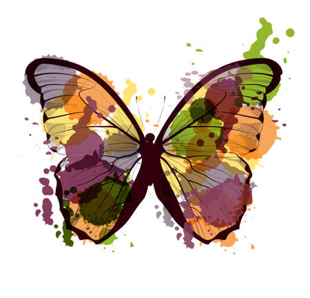 art sketched colorful butterfly symbol in vector Illustration