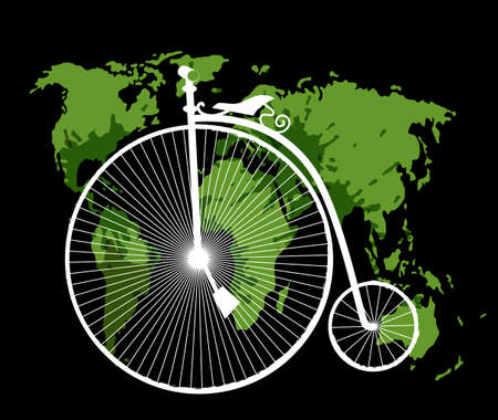 Travel concept with retro bicycle