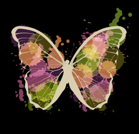 Art sketched colorful butterfly on black background.