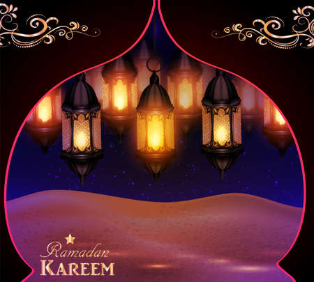 lanterns in the desert at night sky Ilustração