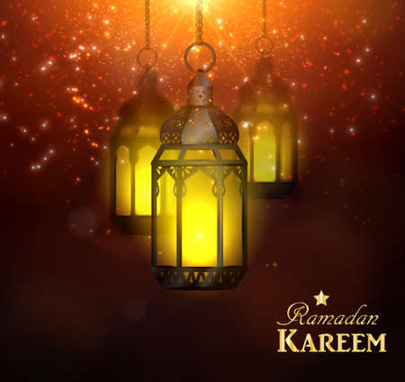 Ramadan Kareem Greetings with Colorful Set of Lanterns or Fanous hanging in a Dark Glowing Background. 3D Realistic Vector Illustration