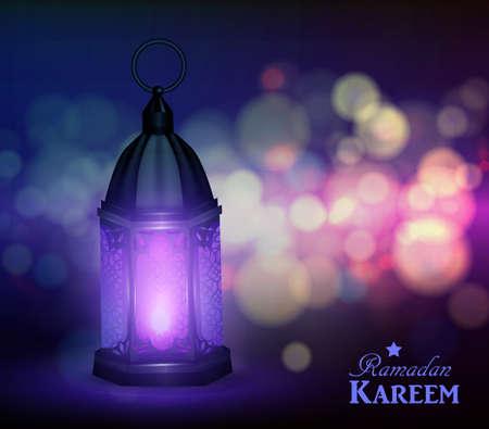 Maroccan Arabic lamp with lights for Ramadan Kareem vector
