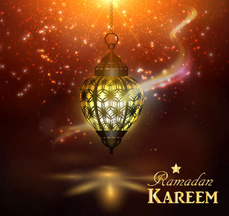 Ramadan Kareem Greetings with lantern hanging with magic light in a Dark Glowing Background. 3D Realistic Vector Illustration