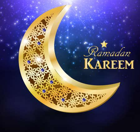Ramadan greetings Vector illustration with moon and star.