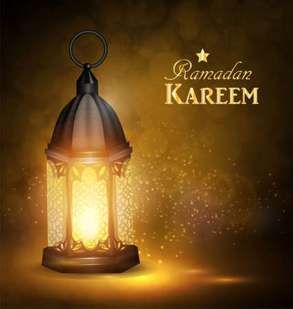 Ramadan Kareem Greetings with Colorful lantern in a Dark Glowing Background. 3D Realistic Vector Illustration