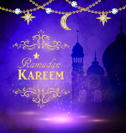 Mosque silhouette background in sunset sky and golden moon and stars for ramadan of Islam Vector illustration.