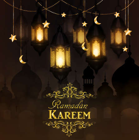 Ramadan Kareem, greeting background with hanging stars moons and lights vector 向量圖像