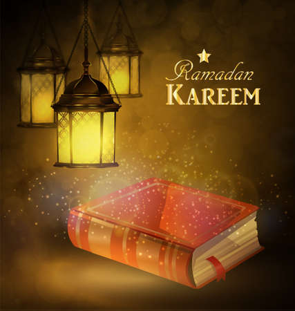 Islamic religious book Quran Shareef with rosary shining in the lantern s light bokeh background for Islamic holy month of prayers, Ramadan Kareem celebration.