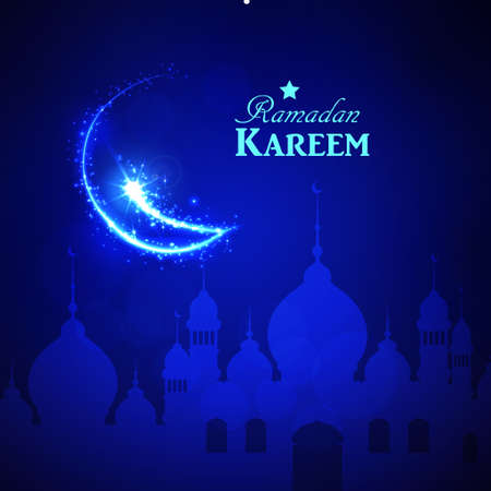 Beautiful holy festival eid and ramadan background with glittered moon design.