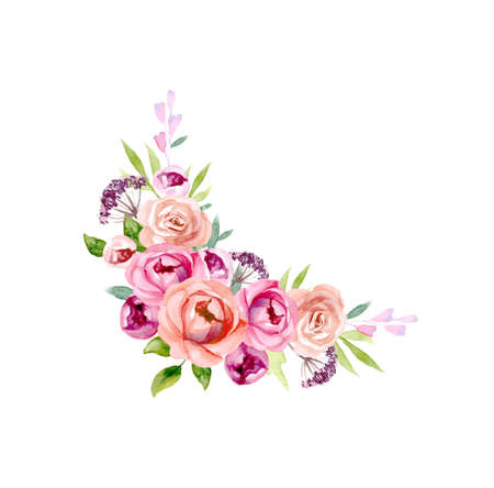 Set of the floral arrangements. Pink roses and peonies with green leaves. Vector romantic garden flowers. Ilustracja