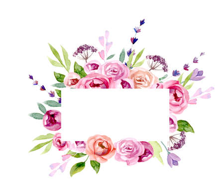 A wreath of flowers in watercolor isolated on plain background.