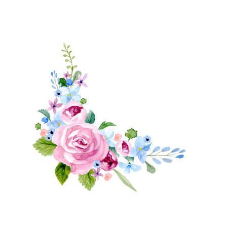 Set of the floral arrangements isolated on plain background Illustration