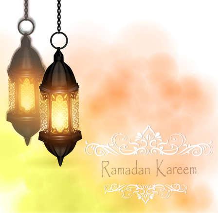 Vector Illustration Ramadan Kareem Lanterns hanging on background