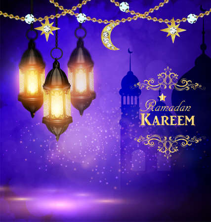 Mosque silhouette background in sunset sky lanterns and golden moon and stars for ramadan of Islam vector