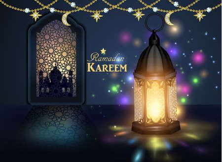 Ramadan hanging shiny lanterns poster  イラスト・ベクター素材