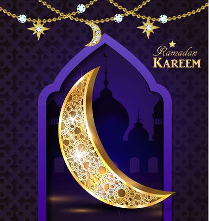 Islamic design mosque door greeting background Ramadan Kareem with golden moon vector