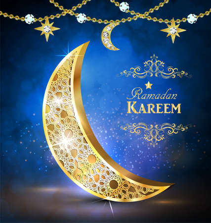 Ramadan greetings with golden moon on bokeh background vector.