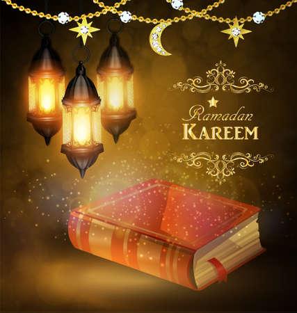 Islamic religious bookand lantern Illustration