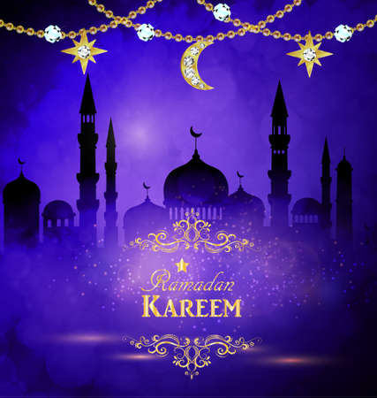 Ramadan Kareem greeting with mosque and bakeh background and golden decorations vector