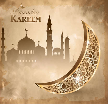 Gold vintage luminous lantern. Arabic golden moon with mosque vector on grange background