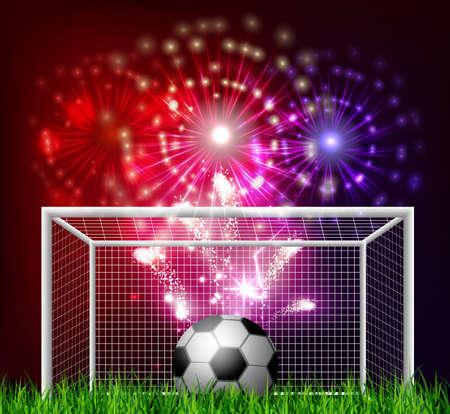 Football arena with a soccer ball Иллюстрация