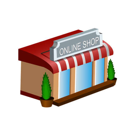Mobile shopping e-commerce online store flat 3d web isometric icon