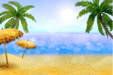 Seaside with palms and a beach