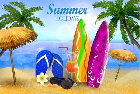 Exotic coconut cocktail Stock Illustratie