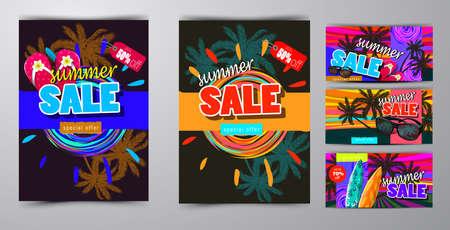 summer sale template banner 向量圖像