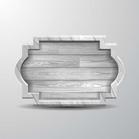 Empty old white rustic wooden sign, nailed, with shadow. Realistic vector illustration. Ilustração