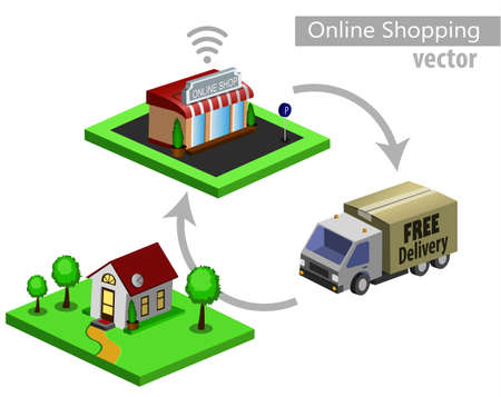 Mobile shopping e-commerce online store flat 3d web isometric icon and free delivery vector 向量圖像