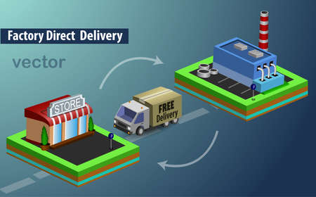 factory free direct delivery vector illustration 3d infographic Illustration